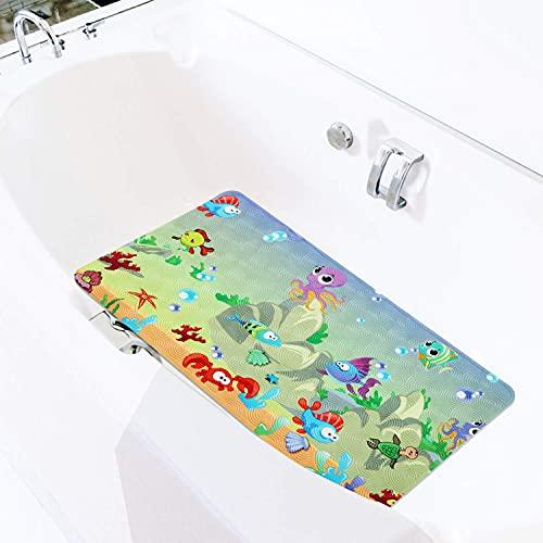 DKJN - Alfombrillas de baño para bañera para niños con ventosas, antideslizantes, tamaño mediano y grande, 15 x 28 cm (Sea-World)