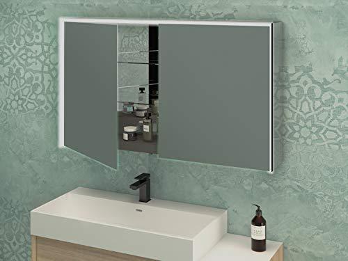 Spiegel badkamerspiegel met 2 deuren, LED, 70 x 120 x 20 cm