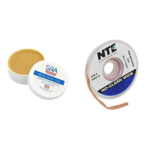 SRA Soldering Products Rosin Paste Flux #135 in A 2 oz Jar & NTE Electronics SW02-10 No-Clean Solder Wick, 4 Blue.098