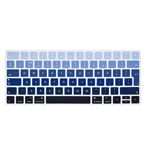 i-Buy Teclado Cubierta para Apple Magic Keyboard Ultra Delgado Keyboard Cover Silicone Pegatinas Teclado Skin Protectora Piel Dise/ño en ingl/és de la UE -Blanco