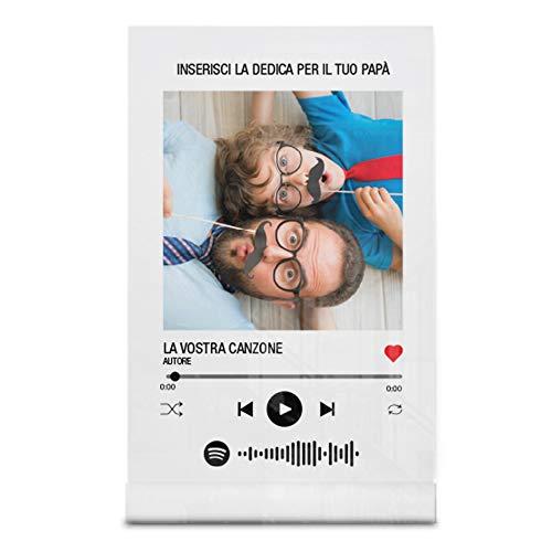 Babloo Targa Musica Personalizzata con Foto Canzone e Dedica Stampa UV su Plexiglass Acrilico Trasparente con codice Spotify scansionabile Idea Regalo Festa del papà (13X20)