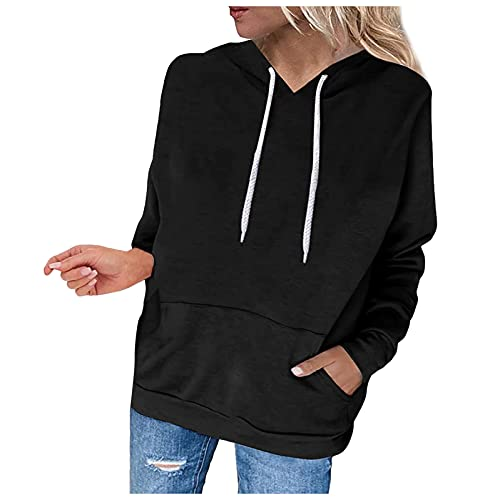 FMYONF Sudadera con capucha para mujer, lisa, para otoo e invierno, con bolsillos, Negro , XL