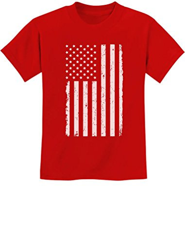 Big White American Flag 4th of July Gift U.S.A Youth Kids T-Shirt Medium Red