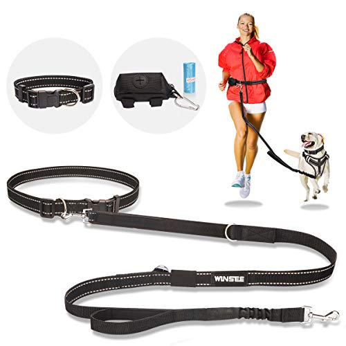 WINSEE Hands Free Dog Leash, Bungee Leash for Medium Large Dogs, Reflective 4pcs Set with Adjustable Waist Belt, Pet Collar and Poop Bag Holder, for Running Walking Training Jogging Driving