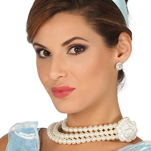 Guirca Perlenkette Kette Anhänger Rose Collier edel Halloween Karneval
