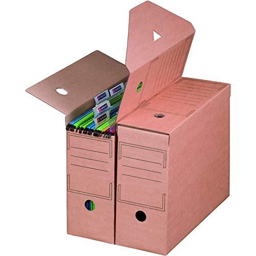 KK Verpackungen® Archivboxen für Hängemappen|10 Stück, 328x115x239mm | Wiederverschließbare Archivschachteln mit Beschriftungsfeldern | Archivkartons mit 12cm Rückenbreite