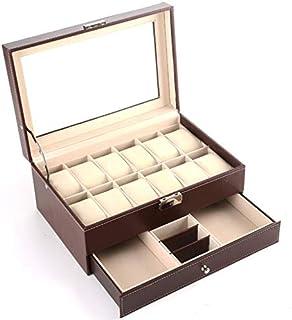 Beauenty 12 Slot PU Leather Lockable Watch Storage Boxes, Men & Women Jewelry Display Drawer Case, 2-Tier Organizer Watch ...