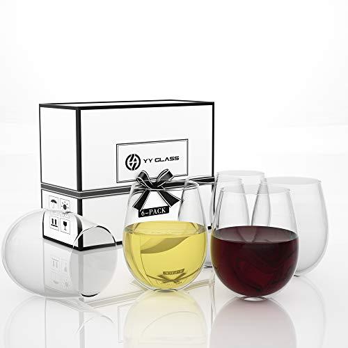 YY Juego de 6 copas de vino irrompibles, transparentes de 20 onzas, vasos de vino gigantes para vino tinto o blanco