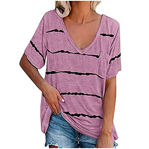 XOXSION Camiseta de verano para mujer, sin mangas, cuello en V, estampado a rayas, con bolsillos, para deporte, fitness, túnica B Rosa S
