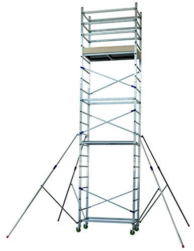 FACAL Alto 620, modulares Arbeitsgerüst aus Aluminium für den Heimwerker, Arbeitshöhe 6,90m, mit 4 bremsbaren Fahrollen und Ausleger, sofort aufbaubereit, TÜV geprüft und EN 1004 Zertifizierung