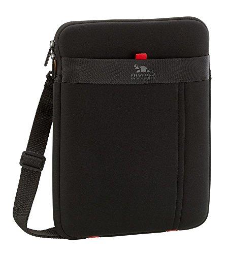 Riva Schutz Tasche Hülle Case Cover Sleeve-wasserabweisend,Außenfach f. Zbr,Abnehmbarer Schultergurt Schwarz für Panasonic Toughpad FZ-G1