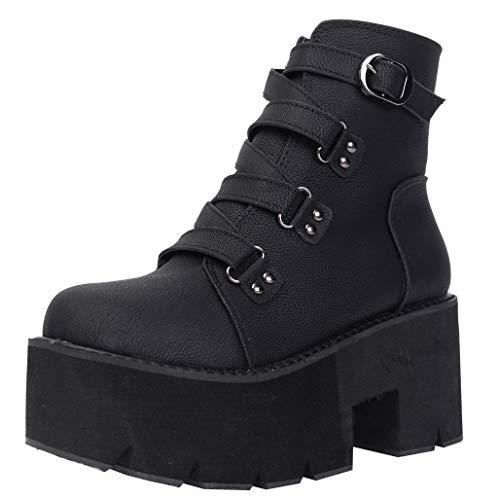 COCOLULU Damen Gothic Stiefeletten Blockabsatz High Heels Punk Stiefel Plateau Schnallen(EU Size 40, Schwarz)