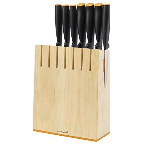 Fiskars Design-Messerblock mit 7 Messern, Breite: 19,8 cm, Höhe: 37 cm, Birkenholz, Functional Form, 1014225