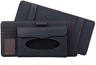 Car Stowing Tidying Multifunctional Lychee Texture Multi-function Car Hang Type Leather Towel Box With Card Slot & CD Slot...