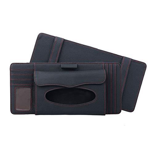 Auto Stowing Tidying Multifunctionele Lychee Textuur Multifunctionele Auto Hang Type Lederen Handdoek Doos Met Kaartsleuf & CD Slot, Geschikt voor de meeste Auto's Zwart