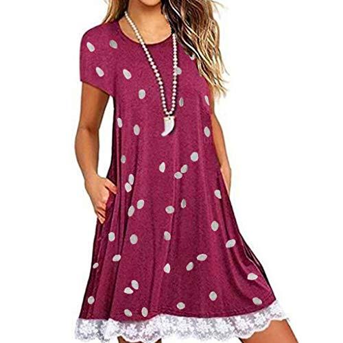 LOPILY Damen Übergröße Kleider Rundkragen Sommerkleider Knielang Kleid Kurzarm Kleid Gepunkteter Kleider Lose Casual Kleider mit Spitze Rand (Rot, DE-40/CN-XL)