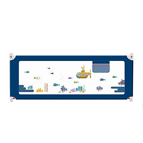 KOSGK Sängskyddsräcke säng metallram och tygöverdrag Viks ner Passar alla madrasser Halkfri 4 storlekar 150–220 cm (Färg: Blå, Storlek: 220 cm)