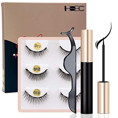 HSBCC 2019 Upgraded Magnetic Eyeliner and Lashes Magnetic Eyelashes Kit False Lashes 3 Style with Tweezers