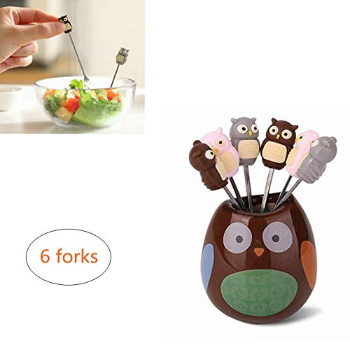 ODDIER 6 Pcs Owl Stainless Steel Fruit Forks Cute Cartoon Animal Food Picks Salad Cake Dessert Forks, Comes with a Ceramic Holder