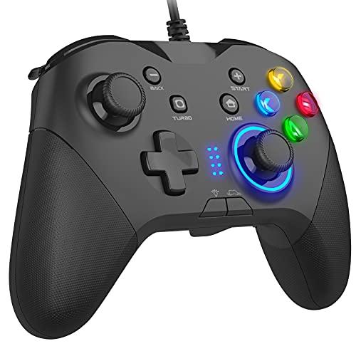 有線ゲームコントローラー PC usbゲームパット マクロ機能 キーの組み合わせ・二重HD振動・Turbo連射・LEDバックライト・JD-SWITCH機能 PCゲーム用 背面ボタン Direct Input/X Input 両方式 PC/Android/Switchに適応 ケーブル長さ2m
