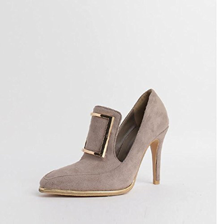Xue Qiqi Qiqi Qiqi Court Schuhe High Heels weiblich fein mit quadratische Schnalle Mode British Retro einzelne Schuhe weiblich, 33, grau  e3bd2d