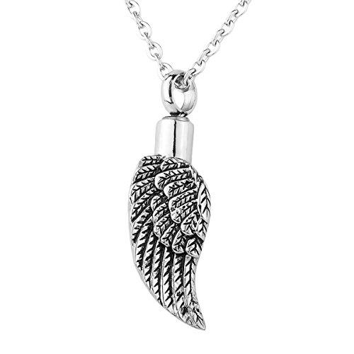 HooAMI Memorial Urne Anhänger wasserdicht Angel Wings Halskette Kettenanhänger