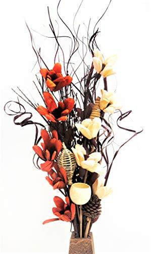 Exotisches Blumen-Arrangement aus handgefertigten Bio-Blumen und getrockneten indischen Gräsern, Schokoladenbraun und Cremefarben Mit kostenloser Vase aus Holz. 85cm hoch.
