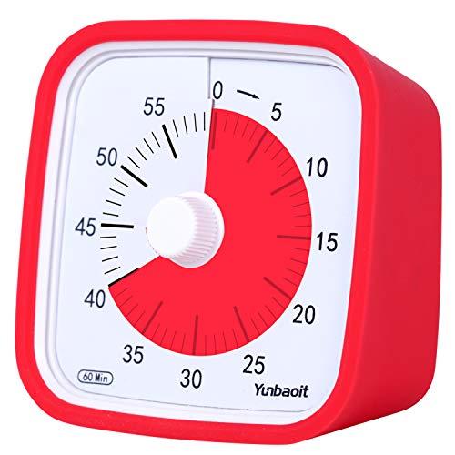 Yunbaoit Pro Version Minuteur Analogique 60 Minutes,Outil de Gestion Visuelle du Temps pour Cuisine, Bureau, Maison et École, sans Tic-Tac, Alarme Sonore en Option (Rouge)