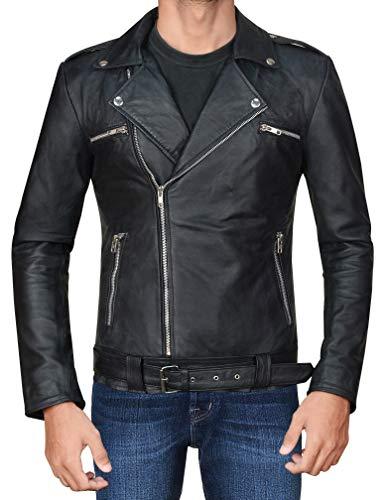 CHICAGO-FASHIONS Mens Negan Jacket - Walking S7 Jeffrey Dean Morgan Black Biker Leather Jacket - Motorcycle Sheepskin Outerwear