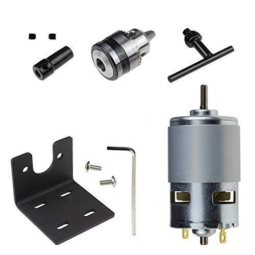 YUXIwang Chuck 12-24V Lathe Press 775 Motor with Miniature Hand Drill Chuck and Mounting Bracket 775 Motor 10000Rpm for DIY Assembly