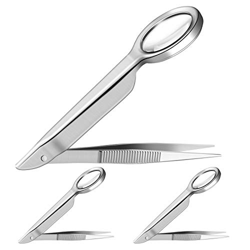 3 Pieces Magnifying Tweezers, Splinter Tweezers Forceps with Magnifying Glass 5X Handheld Magnifier Tweezers Portable Repairing Loupe Tool for Scientific Jewelry Inspection Stamps Ingrown Hair Removal
