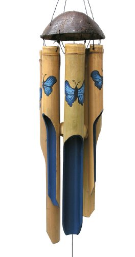 Cohasset Gifts Bamboo Wind Chimes | Medium 38 inch | Natural Beautiful Sound | Wood Outdoor Home Decor | #127 Blue Butterfly