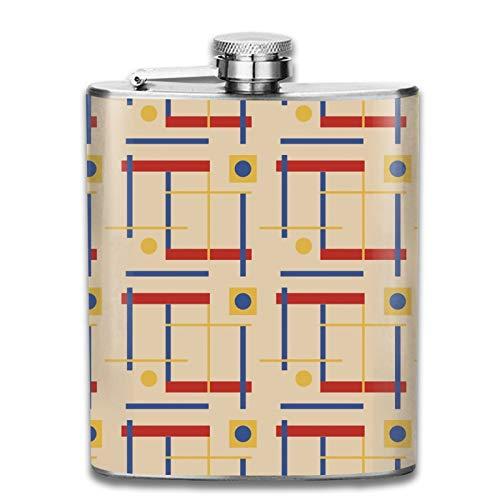 Petaca de acero inoxidable portátil de 7 onzas con un guiño a Bauhaus Circle plana para licor, whisky, vino y bandera, para escalada, camping, barbacoa, bar, fiesta, bebedor