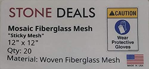 "Stone Deals Super Sticky Mesh for Back Mounted Mosaic 12"" x 12"" (Twenty Sheets) 4.5 oz"