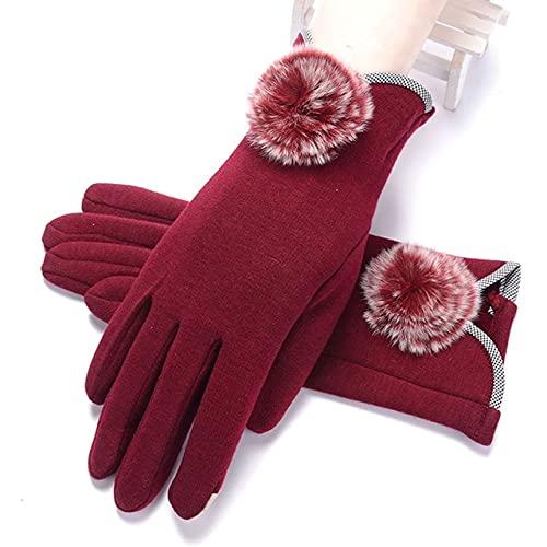 Neue weibliche Herbst Winter volle Finger warme Spitzenhandschuhe Frauen Baumwolle Touchscreen-Handschuhe-I31 Red