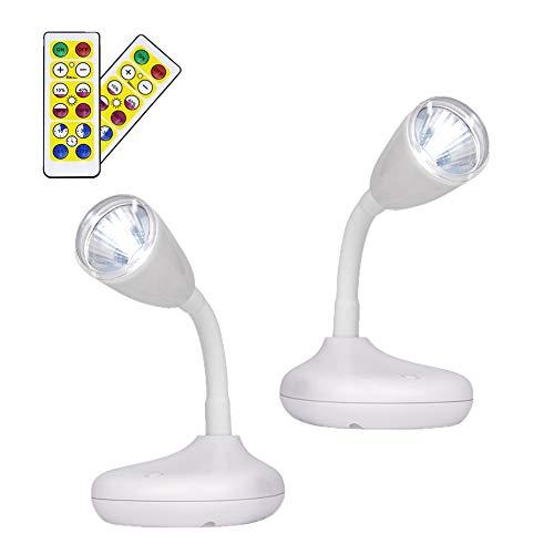 LIGHTESS 2 pezzi Adesivi Faretti, Applique a Batteria con Telecomando, Luci Armadio Cimmerabile, LED Faretto Interno per Armadio/Corridoio (Bianco caldo)