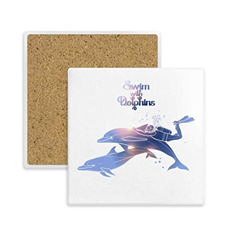 DIYthinker Schwimmen mit Delphinen Illustrieren Platz Coaster-Schalen-Becher-Halter Absorbent Stein für Getränke 2ST Geschenk Mehrfarbig