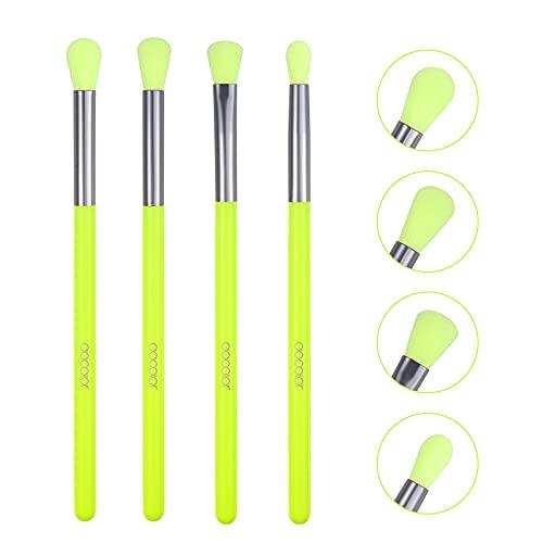 Docolor Pennelli Make Up Occhi Set, set di pennelli per il trucco, Pennello per il trucco 4 pezzi colore verde fluo per ombretto
