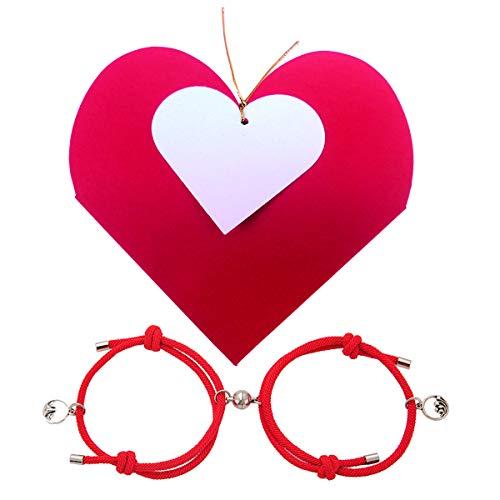 Pulseras Magnéticas de Amor y Amistad para Parejas - Novios - Novias - Presentado en una Bonita Caja Corazón y Tarjeta - ¡Siempre Estaréis Conectados!