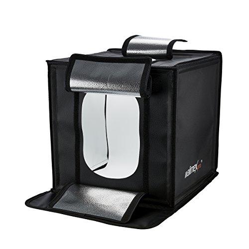 Walimex Pro Aufnahmewürfel, Ready to go (43 x 43 x 43 cm mit LED Beleuchtung, inkl. Hohlkehleneinlagen und Diffusor) schwarz