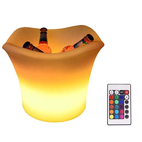 LUKUCEA Secchiello del Ghiaccio con LED Che Cambia Colore Telecomando Champagne Vino Bevande Raffreddamento retrò per Matrimoni Club Bar Table Xmas Parti