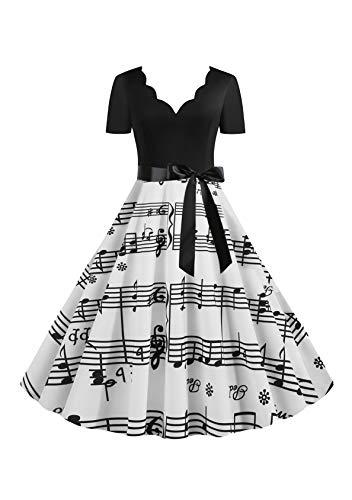 EFOFEI Damen 50er Jahre Kleider 50er Cap Sleeves Swing Kleider A-Linie Rundhals Kleid Weiß 3XL