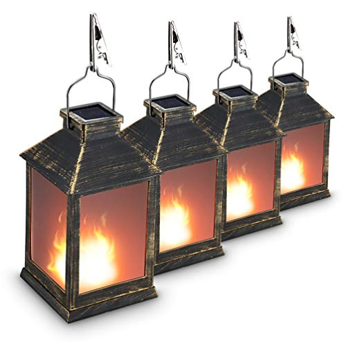 10' Vintage Style Solar Powered Lantern Fame Effect(Metallic Coating Black,Plastic),Solar Garden Light with Vivid Fire Effect,Outdoor Solar Hanging Lantern,Decorative Lanterns ZKEE (Set of 4)