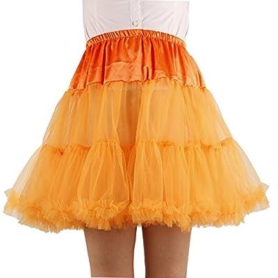 Shimaly Women's Princess Layered Puff Skirt Mini Tutu Skirt Short Petticoat (L-XL, Orange) from