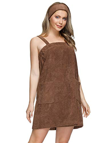 Zexxxy Gym and Shower Robes for College Girl Towel Wrap with Pockets Makeup Headband Brown