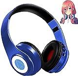 E-Greetshopping Bluetooth-Kopfhörer, Nakano Miku, faltbar, kabellos, Stereo, Hi-Fi, mit integriertem Mikrofon, Quintuples, Manga, Cartoon, Cosplay, Kopfhörer, Blau