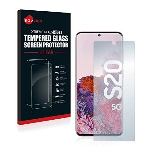 savvies Cristal Templado Compatible con Samsung Galaxy S20 5G Protector Pantalla Vidrio Proteccion 9H Pelicula Anti-Huellas
