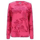 Felpa a Fantasia Tropicale con Stampa in Glitter - Rosa Fucsia Floreale - Large