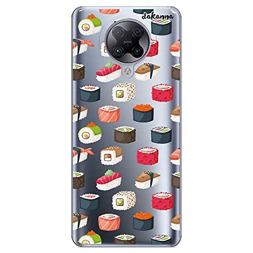 Dakanna Funda Compatible con [ Xiaomi Redmi K30 Pro - Poco F2 Pro ] de Silicona Flexible, Dibujo Diseño [ Comida Sushi ], Color [Fondo Transparente] Carcasa Case Cover de Gel TPU para Smartphone