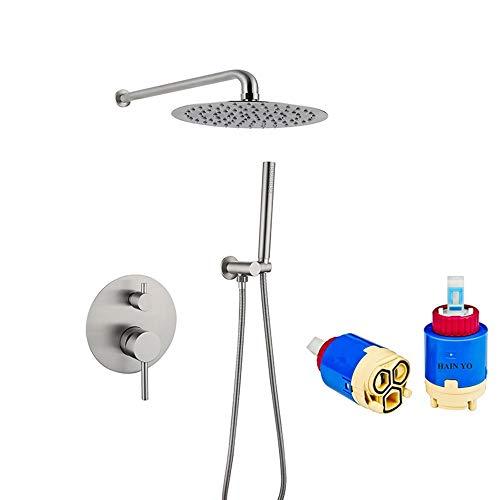 XLTT Grifo de ducha de acero inoxidable 304 de dibujo de alambre de presión constante termostático oculto sistema de ducha de dos funciones